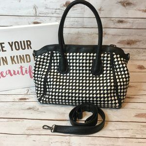 Melie Bianco Black and White Weave Large Satchel